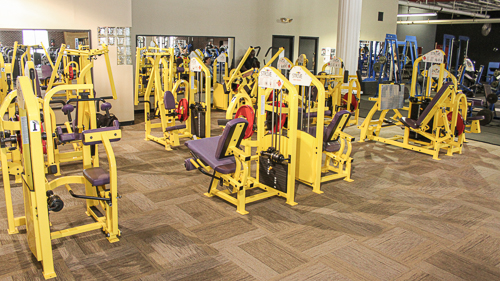 Titans Mentor Gym Floor with Yellow Weight Machines