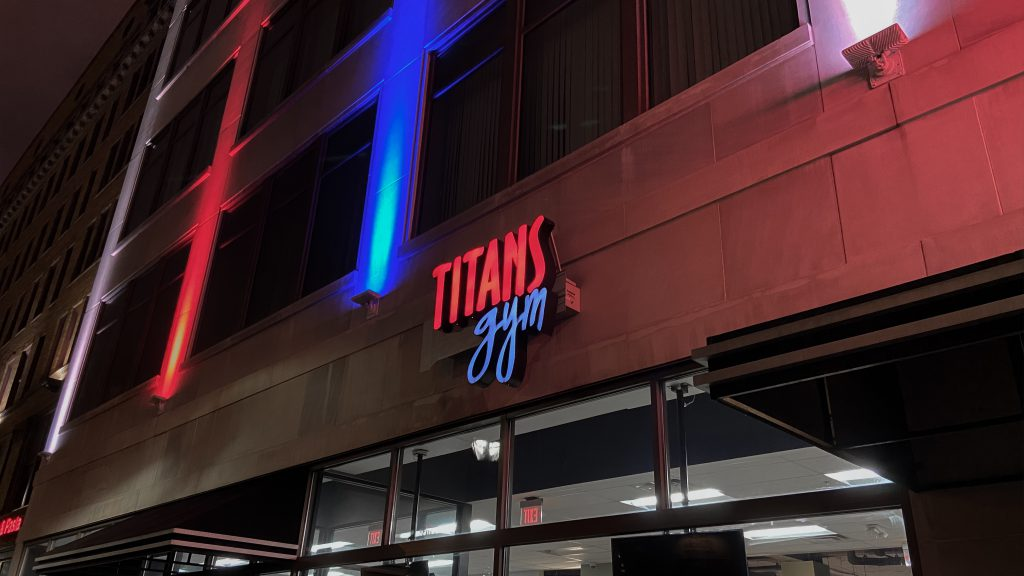 Titans Gym Sign Downtown Cleveland