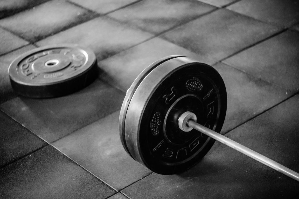 Barbell and Weights on Floor